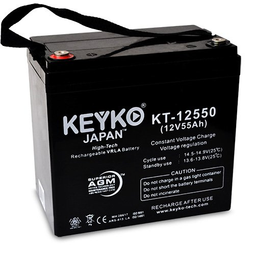 KEYKO Genuine KT-12550 12V 55Ah Group 22NF Battery SLA Sealed Lead Acid / AGM Replacement - IT Internal Tread Terminal by KEYKO