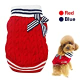 Didog Classic Ribbed Dog Cat Sweaters -Cute Bowknot Knitwear Navy Style Winter Festival,Holiday,Christmas,Red,M Size For Sale