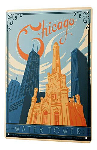 City Chicago Water Tower Metal Tin Signs for Home Bar Garage Store Yard Office ()