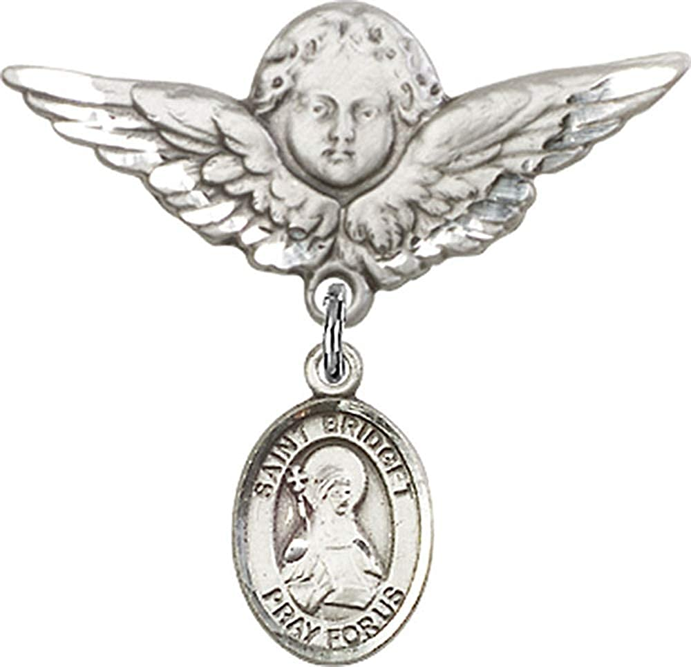 Sterling Silver Baby Badge with St bliss Christening /& Baptism Keepsake Bridget of Sweden Charm and Angel w//Wings Badge Pin//Widows//Sweden