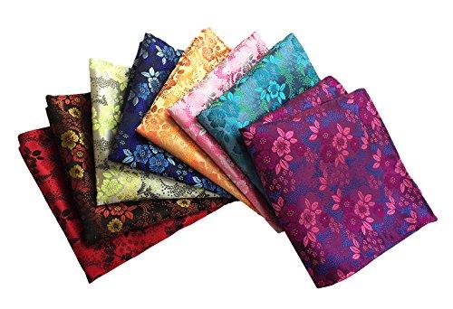 MENDENG Mens 8 Pack Mixed Paisley Floral Pocket Square Wedding Handkerchief