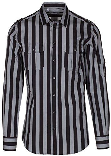 Dolce & Gabbana Men's 'Gold' Black Striped Epaulet Button Down Dress Shirt, Black, - Gabbana Black And Dolce Gold And