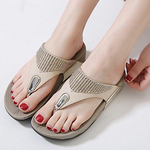 Azbro Mujer Moda Sandalias Flip-flop Cuña Plataforma con Diamantes Falsos Dorado