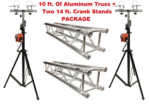 Aluminum Truss Portable 10' Lighting Truss Package + Two 14 ft. Crank Up Stands by Cedarslink