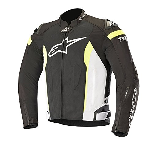 T-Missile Air Textile Motorcycle Jacket for Tech-Air Race Airbag System (XL, Black White Yellow Fluo)