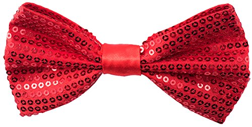 Red Men's Sequin Bow Ties - Pre-tied Adjustable Length Bowtie, Many Colors to Choose From