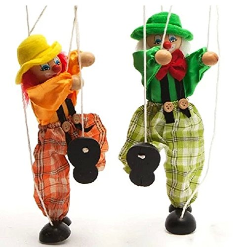 hot Wooden marionette PULL clown toys for children(green ) by xiaopingshop (Image #1)