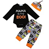 Newborn Infant Baby Halloween Outfit Mama is My Boo Long Sleeve Romper + Pants + Hat Clothes Set (Black, 12-18 Months)