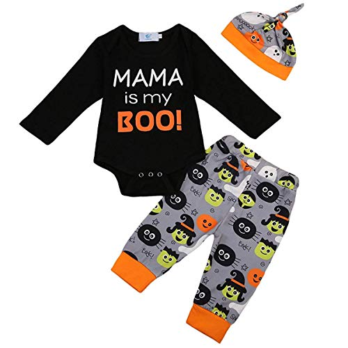 Newborn Infant Baby Halloween Outfit Mama is My Boo Long Sleeve Romper + Pants + Hat Clothes Set (Black, 12-18 Months) by Divilon