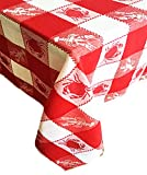 Sea Plaid Coastal Design Indoor/Outdoor Cotton Tablecloth - Crab and Lobster Check Pattern Tablecloth - 60 x 84 Oblong - Red