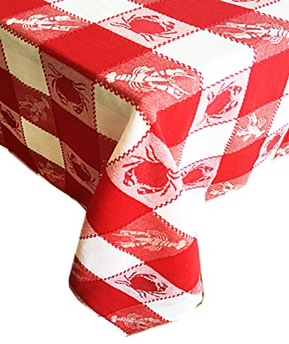 Sea Plaid Coastal Design Indoor/Outdoor Cotton Tablecloth - Crab and Lobster Check Pattern Tablecloth - 60 Round - Red
