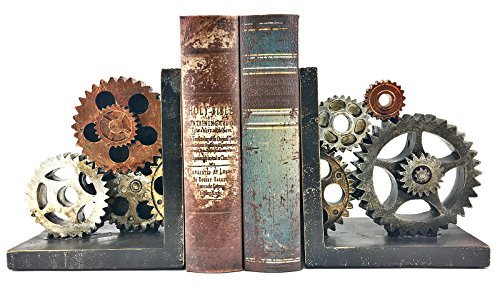 Bellaa 20881 Gear Bookends Industrial Vintage Style Sculptural Decorative Book Holder Resin (Gears Vintage)