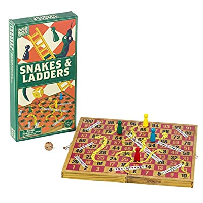 Professor Puzzle; Wooden Snakes & Ladders - Traditional / Classic Wooden Family Board Game Snakes and Ladders.: Toys & Games