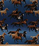 Fleece Horses Running Equestrian Cowboys Western Ranch Animals on Blue Ombre Fleece Fabric Print by the Yard (43427-1b)