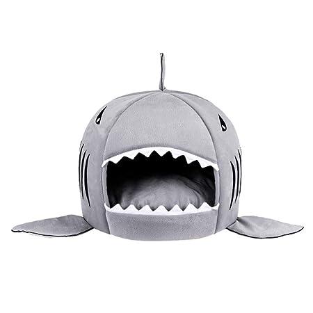 JEELINBORE Cojín extraíble Suave Casa Cama de Tiburón para Gatos Perros Pequeños Cueva para Mascotas (M: 42 * 40CM, Tiburón # Gris): Amazon.es: Productos ...