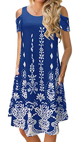 BOCOTUBE Women's Casual Cold Shoulder Floral Print Short Sleeve Midi Swing Dress with Pockets