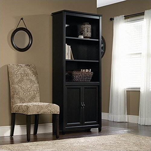Sauder Edge Water Library with Doors, Estate Black by Sauder