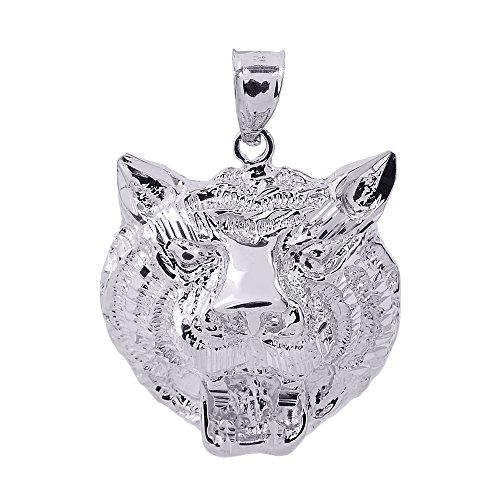 - Animal Kingdom 925 Sterling Silver Charm Tiger Head Pendant