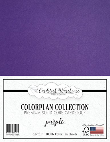 PURPLE Cardstock Paper - 8.5 x 11 inch Premium 100 lb. Cover - 25 Sheets from Cardstock Warehouse (Cardstock Sheet 25 Cardstock)