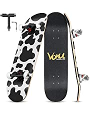 """Complete Skateboard for Kids Boys Girls Beginners - 31"""" X 8"""" inch Standard Skateboard with 7 Layer Maple Double Kick Concave Cruiser Skateboard with Beauty Pattern for Kids Youths Adults…"""