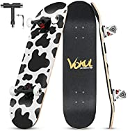 """Complete Skateboard for Kids Boys Girls Beginners - 31"""" X 8"""" inch Standard Skateboard with 7 Layer M"""