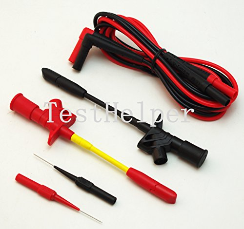 TestHelper KIT-3C Fully Insulated Quick Piercing Test Clips Multimeter Test Probe Spring with Silicone Test Leads with Piercing Needle Test Probe