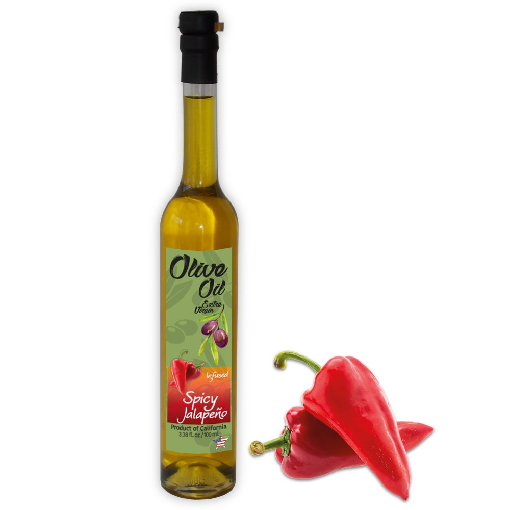 Infused Olive Oil, with Jalapeno Fruit, California Extra Virgin Farm to Table - Cold Press - Crop Year: 2017/18-3.38 fl oz - Gardenia Glass Bottle-T Cap - Vegan - Non GMO
