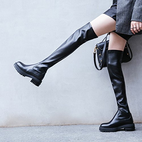 ZH Bottes Extensibles Western Au Genou avec D'Épaisses Chaussures Noires D'Automne Et D'Hiver Noir 2w9Ejiib