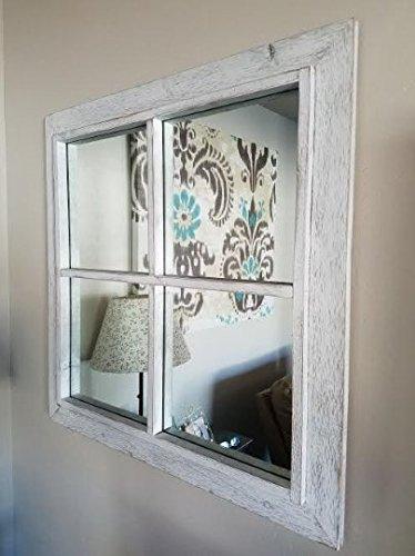 - My Barnwood Frames - Rustic White Windowpane Wood Mirror (20x30 Inches)