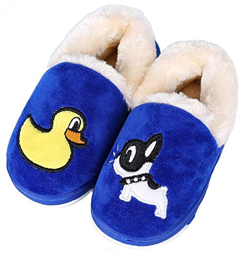 UIESUN Newest Unisex Cute Toddler Kids Soft Slippers Shoes for Boys Girls Winter Bedroom Indoor House (Toddler 6.5-7(M) B US, Blue)