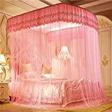 WENZHANG Lace lace net for bed,Princess bed canopy,Three-door nets Encryption bold nets Stainless steel mosquito net for bed Retractable type u square netting curtains-pink 180x200cm(71x79inch)