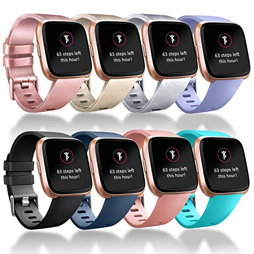 Tobfit Sport Bands Compatible with Versa/Versa Lite/SE, Soft TPU Wristbands Accessories for Women Men, Rose Gold/Champagne/Silver/Lavender/Black/Blue/Pink/Teal, Large