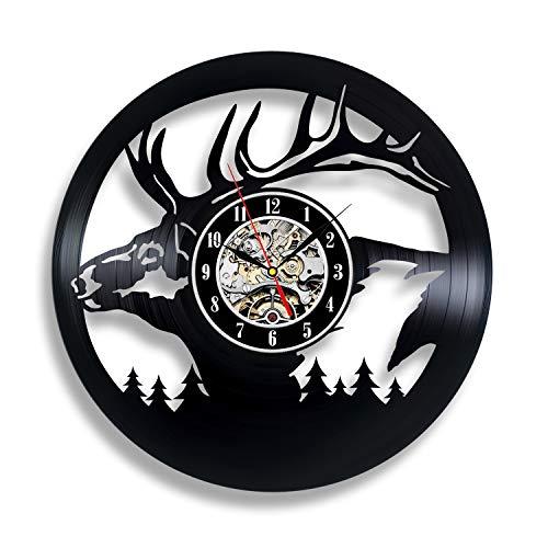 Handmade Solutions EU Elk Vinyl Wall Clock Hunter Home Room Decor Items Xmas Decorations Deer Horns Presents Art Gifts