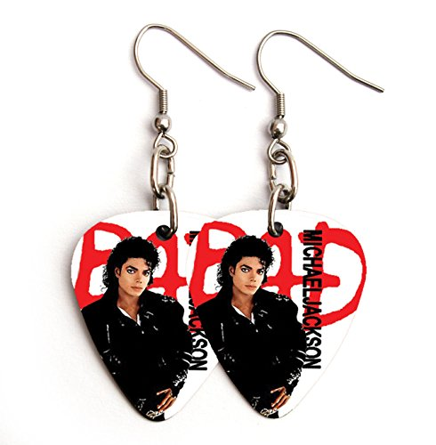 Mj Bad Costume (MICHAEL JACKSON MJ BAD guitar pick plectrum SILVER EARRINGS king of pop)