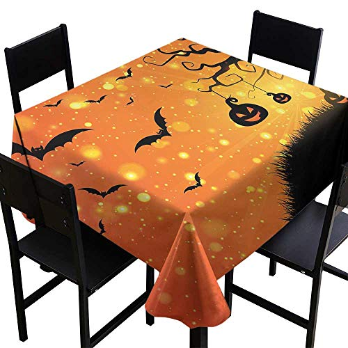 StarsART Party Table Cloth Halloween,Magical Fantastic Evil Night Icons Swirled Branches Haunted Forest Hill,Orange Yellow Black D60,Round Tablecloth]()