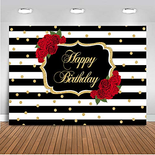 Mehofoto Red Rose Happy Birthday Backdrop Stripes Dots Birthday Photography Background 7x5ft Vinyl Women Birthday Party Banner Backdrops