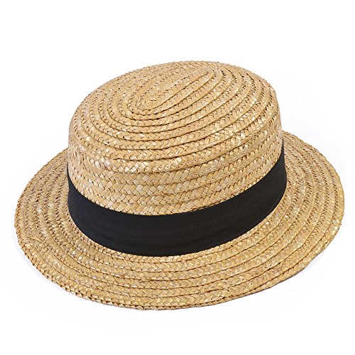 Bristol Novelty BH126 Straw Boater Hat, Unisex-Adult, Beige, One ()
