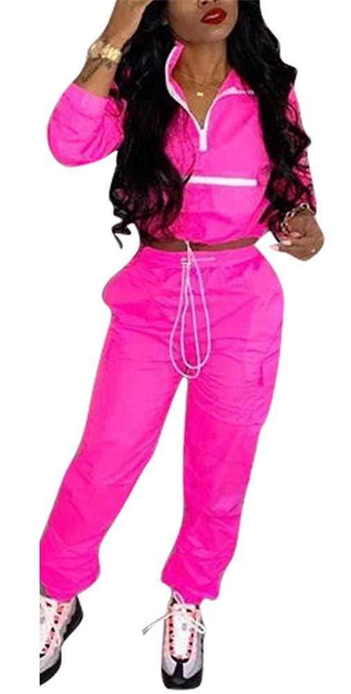 EOSIEDUR Women 2 Piece Outfits Tracksuit Jumpsuits Lightweight Windbreaker Pullover Jacket Crop Top Pants Set