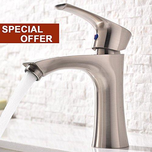 Vanity Sink Faucet (Modern Single Handle Stainless Steel Brushed Nickle Bathroom Vanity Sink Faucet, Bathroom Faucets Brushed Nickle)