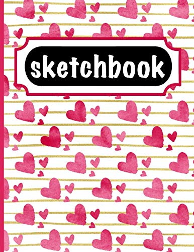 ook With Watercolor Hearts & Gold Stripes Cover Design - Create Art With Large Blank Pages To Practice Drawing Skills ()
