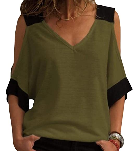 d195022f Pandapang Women's Chic Top Tee Short Sleeve Cold Shoulder V Neck T-Shirts  Army Green