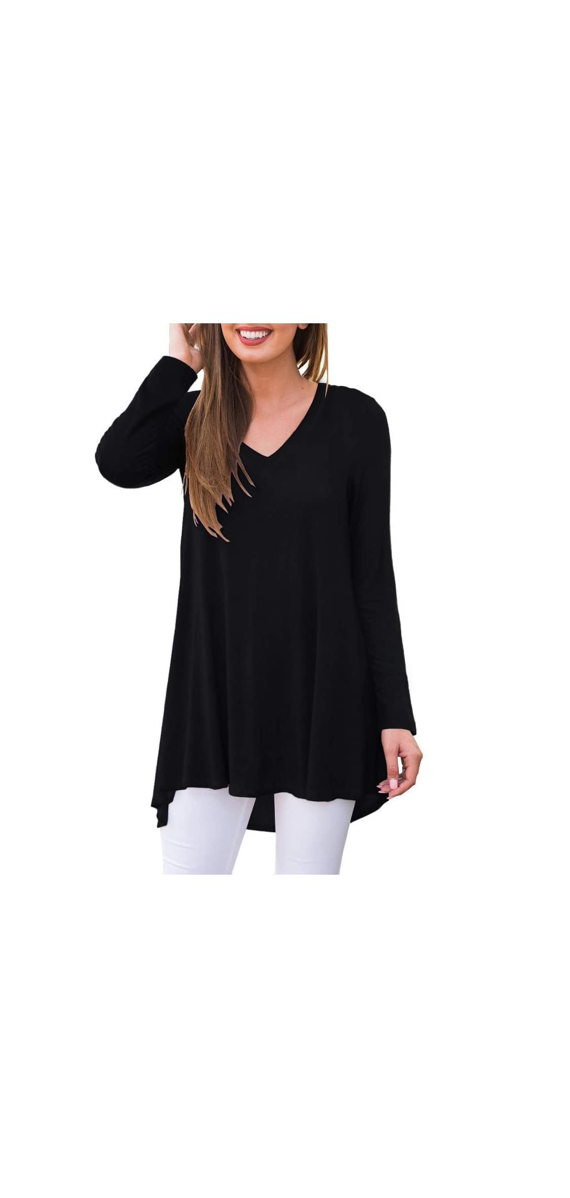 Women's Casual Lace Long Sleeve Tunic Top Blouse
