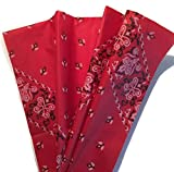 Printed Tissue Paper for Gift Wrapping with Design (Red Bandana), 24 Large Sheets (20x30) - Western Theme Party Supplies