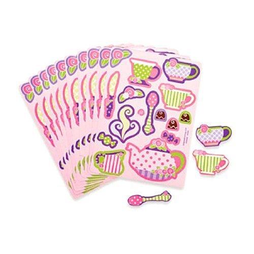 Fun Express Girly Tea Party Sticker Sheets (2 Dozen) Toy - Tea Party Sheet
