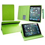 Emartbuy® Hipstreet 10.1 Inch Phoenix Tablet Universal ( 9 - 10 Inch ) Green Premium PU Leather Multi Angle Executive Folio Wallet Case Cover Green Interior With Card Slots + Green Stylus