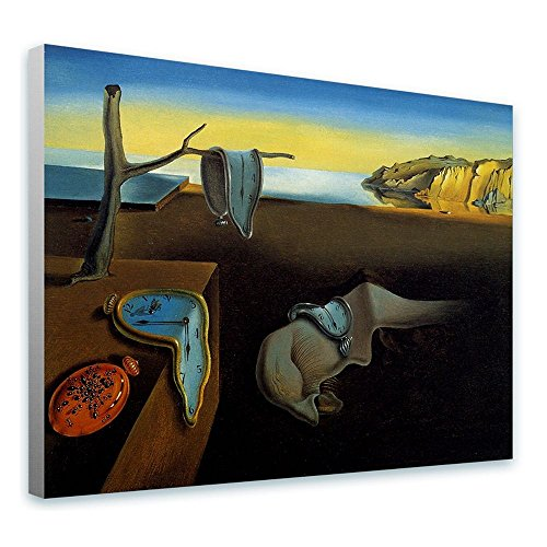 (Alonline Art - The Persistence Of Memory Melting Clock by Salvador Dali | framed stretched canvas on a ready to hang frame - 100% cotton - gallery wrapped | 16