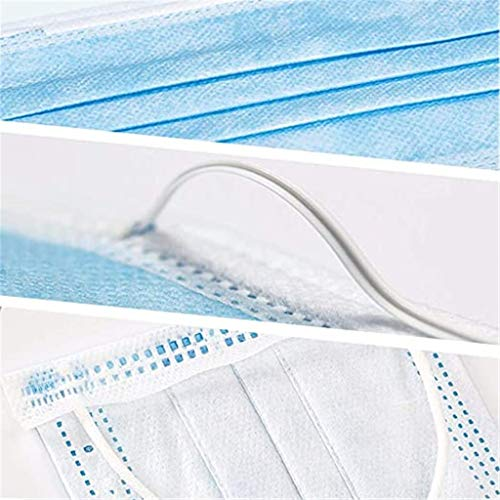 100Pcs Disposable 3 Ply Face_Masks, Face Bandanas Non-Woven Earloop Anti-Haze Suitable for Home School Office Outdoors Blue