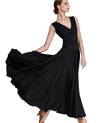 95f5060d7 CHAGME V-Neck Dress Latin Dress Tango Skirts Ballroom Skirts Waltz Dress  Black M