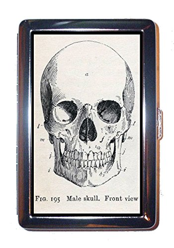 (Victorian Gothic Male Skull Front View SCARY! Stainless Steel ID or Cigarettes Case (King Size or 100mm))