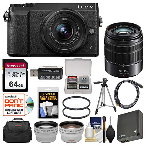- Panasonic Lumix DMC-GX85 4K Wi-Fi Digital Camera & 12-32mm (Black) with 45-150mm Lens + 64GB Card + Case + Battery + Tripod + Tele/Wide Lens Kit